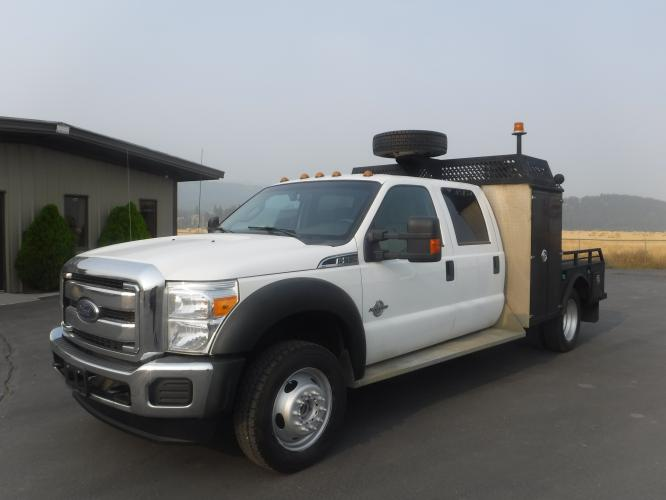 2016 White Ford F-550 Crew Cab DRW 4WD (1FD0W5HT2GE) with an 6.7L V8 OHV 16V DIESEL engine, located at 3810 US Hwy 93 S, Kalispell, MT, 59901, (406) 752-1138, 48.131493, -114.269760 - Photo #0